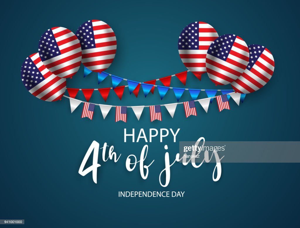Happy 4th of July holiday banner. USA Independence Day Background. with Ribbon and Balloon