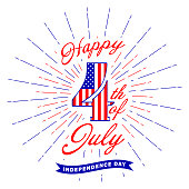 Happy 4th of July text lettering and fireworks flash. Fourth of July design element. USA Independence day decoration. Isolated on white background. Vector illustration.