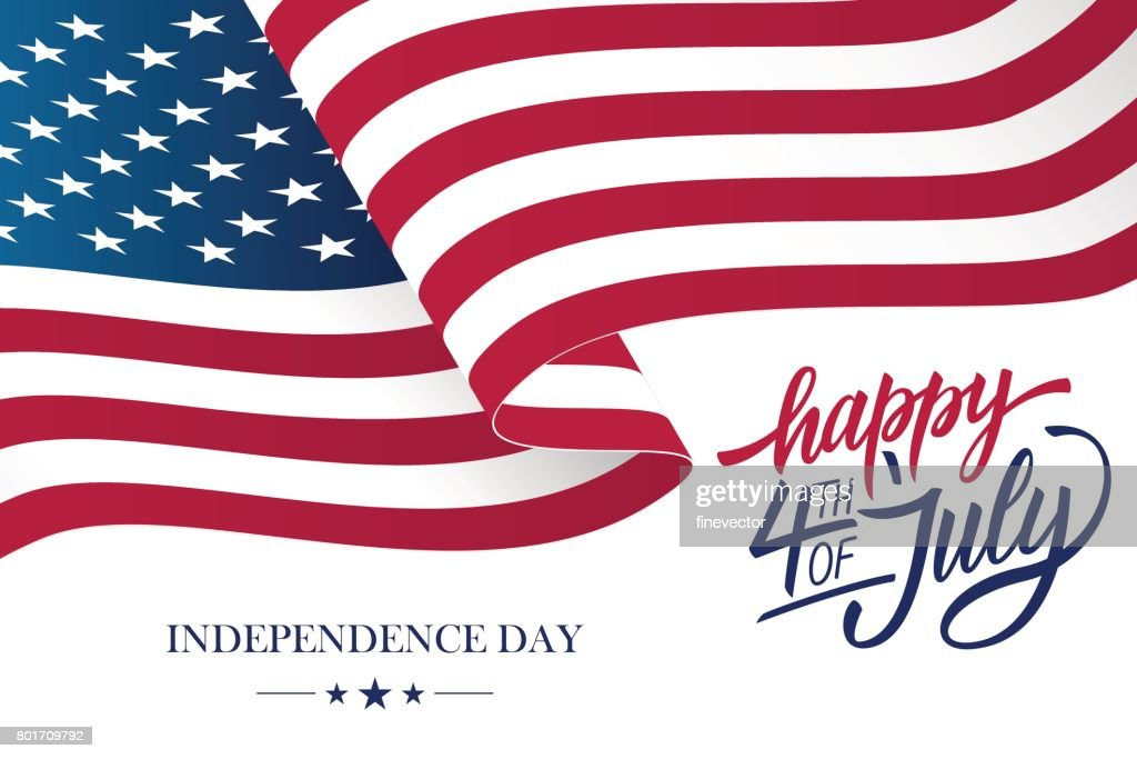 Happy 4th of July USA Independence Day greeting card with waving american national flag and hand lettering text design.