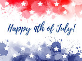 Happy 4th of July watercolor splashes background
