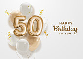 Happy 50th birthday gold foil balloon greeting background.