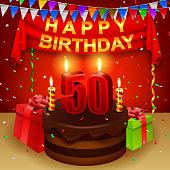 Happy 50th Birthday with chocolate cream cake and triangular flag