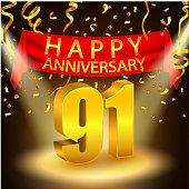 Happy 91st Anniversary celebration with golden confetti and spotlight