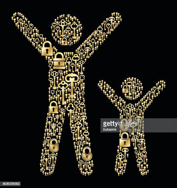 幸せな大人と子アンティークの金の鍵パターン ベクトル グラフィック - 試合 セット点のイラスト素材/クリップアート素材/マンガ素材/アイコン素材