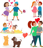 Happy adult couple in love feeling emotions vector set