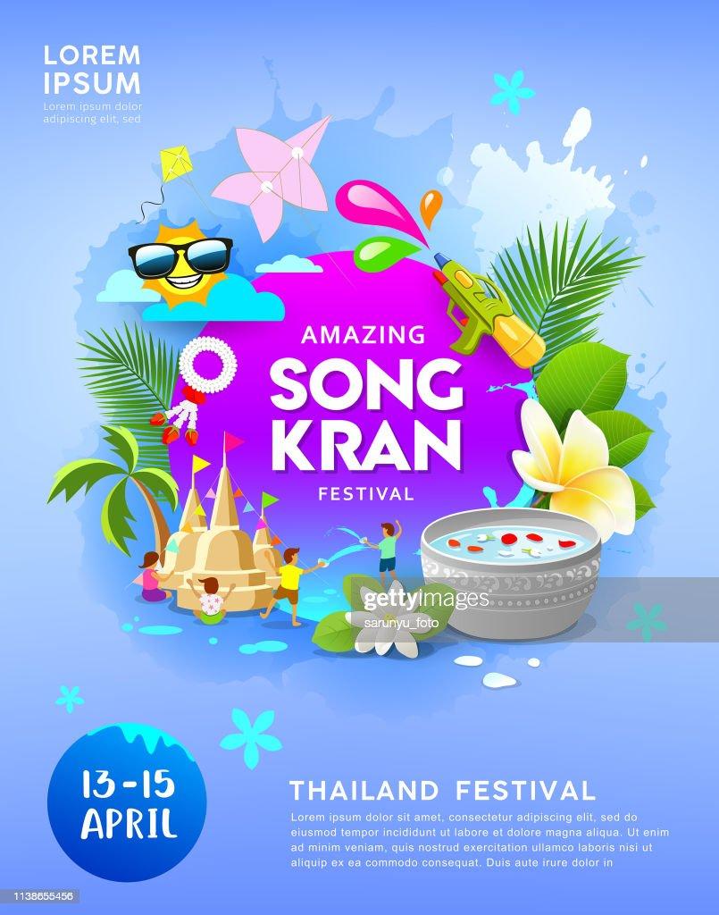 Happy Amazing Songkran festival Thailand on blue poster