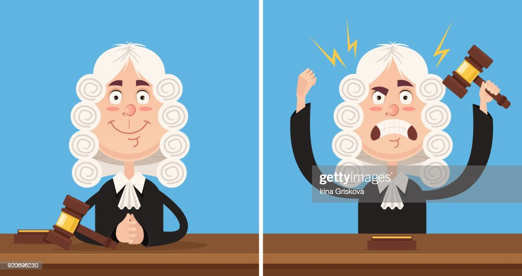 Happy and angry judge character mascot