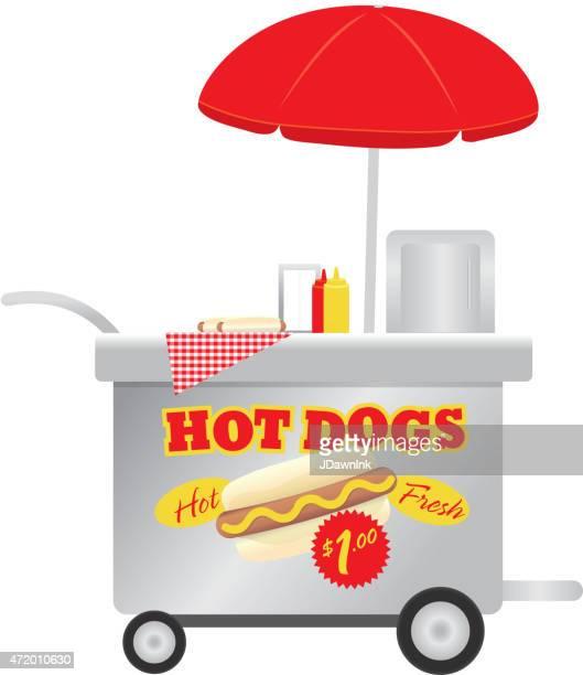 Heureus'et mignonne Hot Dog fournisseur Tenez-vous debout sur un arrière-plan blanc