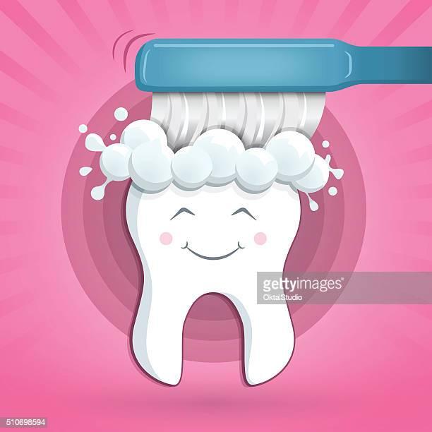 Glückliche und gesunde Zahn mit einer Bürste