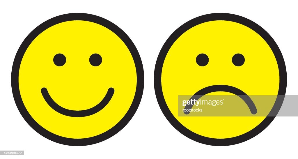 Happy and sad face icons. Smileys.