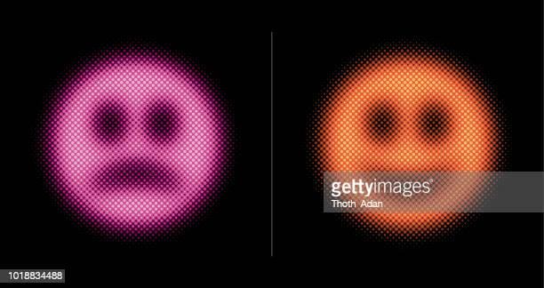 ilustrações, clipart, desenhos animados e ícones de carinha feliz e triste (conjunto de meio tom neon) - smiley faces