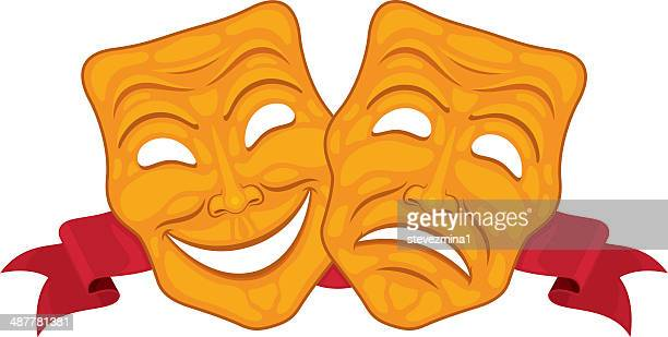 happy and sad theater masks - actor stock illustrations, clip art, cartoons, & icons