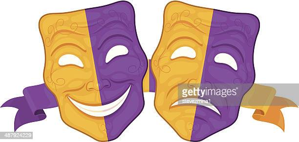 happy and sad theater masks - stage costume stock illustrations