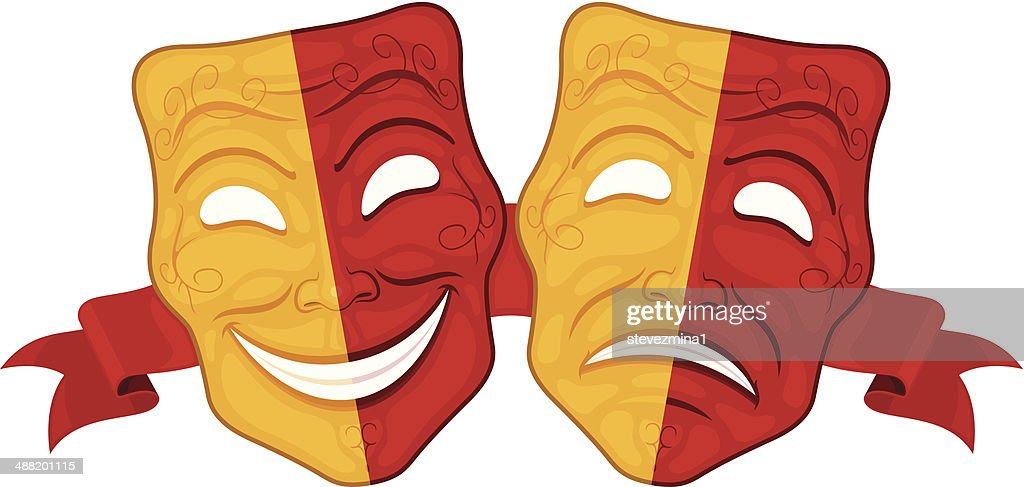 Happy and sad theatre masks in red and yellow