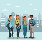 Happy and smiling group of students standing with notebooks. Back to school vector illustration