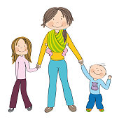 Happy and smiling young mother with three children - girl, boy and little baby girl which she is carrying in sling - all three holding hands - original hand drawn illustration