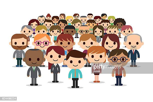 happy and success business people - political rally stock illustrations, clip art, cartoons, & icons