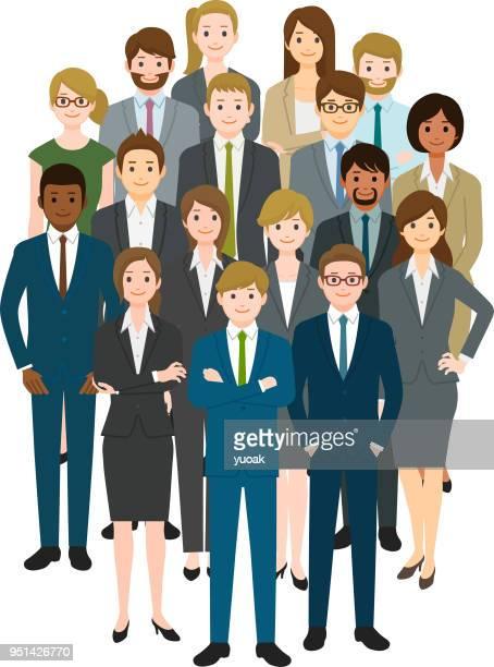 ビジネスの人々の幸せと成功 - 白人点のイラスト素材/クリップアート素材/マンガ素材/アイコン素材