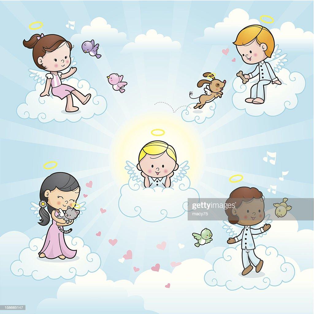 Happy angel kids in heaven