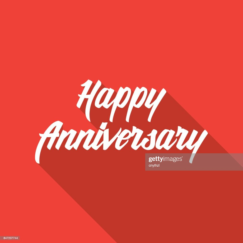 happy anniversary hand lettering with long shadow vector art