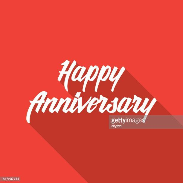 happy anniversary hand lettering with long shadow - anniversary stock illustrations, clip art, cartoons, & icons