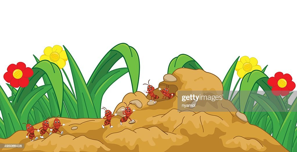 happy ant cartoon in the nest