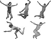 Happy Asian Kids Jumping