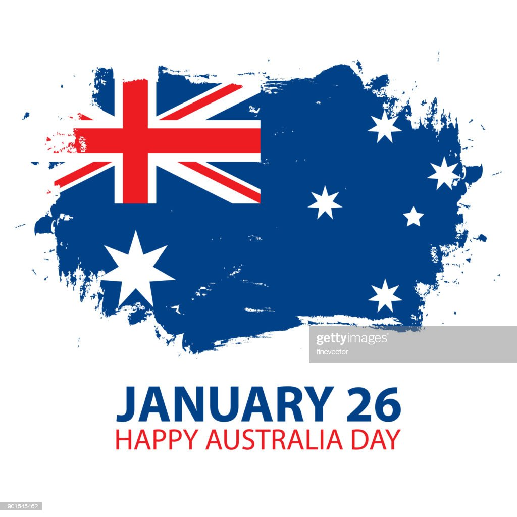 Happy Australia Day, january 26 greeting card with brush stroke in colors of the australian national flag.