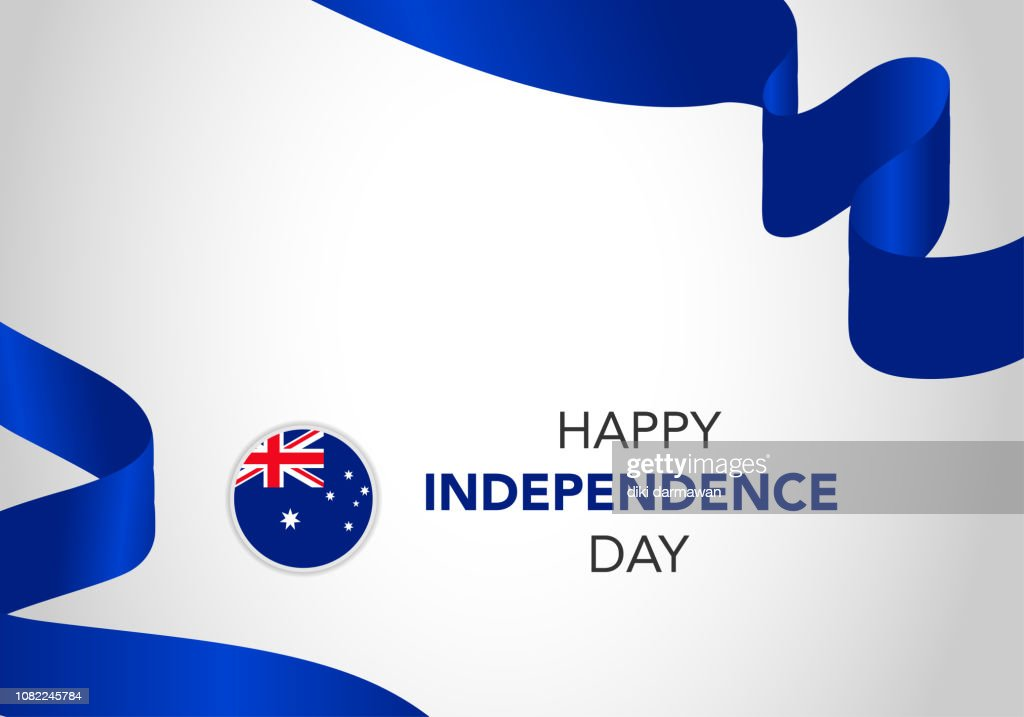 Happy Australia Independence Day. Template of greeting card, banner with lettering. Waving Australia flags isolated on white background. vector illustration