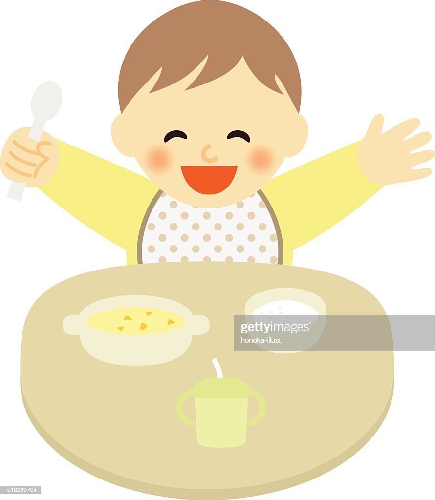 happy baby at mealtime
