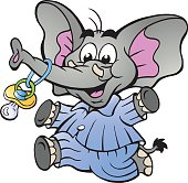Happy Baby Boy Elephant in Pajamas holding a Pacifier