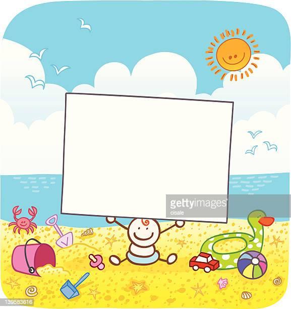 happy baby boy holding blank banner at sunny summer beach