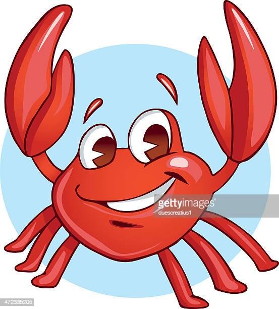 illustrations, cliparts, dessins animés et icônes de heureux bébé crabe - crabe