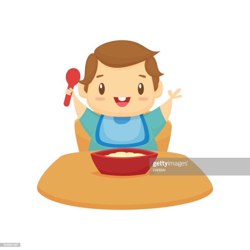 Happy baby eating cartoon vector illustration