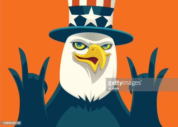 happy bald eagle cheering - bird of prey stock illustrations, clip art, cartoons, & icons