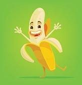 Happy banana character. Vector flat cartoon illustration