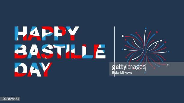 illustrations, cliparts, dessins animés et icônes de heureuse fête lettrage de bannière dans la couleur du drapeau français. illustration vectorielle. - jour