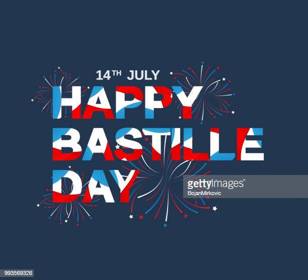 happy bastille day poster. french national day. vector illustration. - national holiday stock illustrations