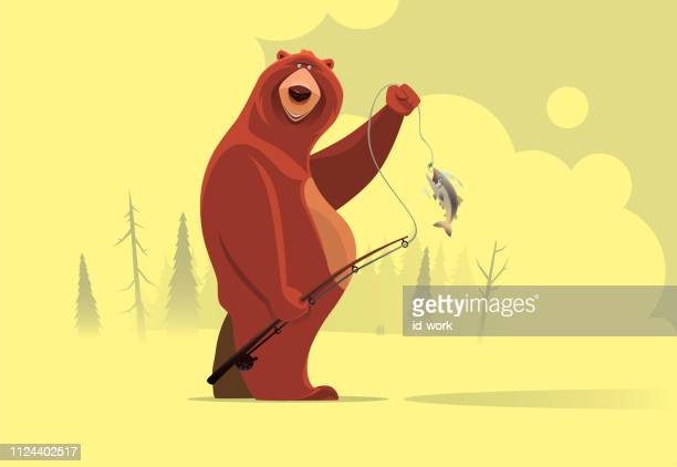 happy bear catching fish - humor stock illustrations