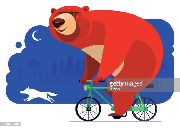 illustrations, cliparts, dessins animés et icônes de vélo heureux d'ours avec le loup la nuit - velo humour