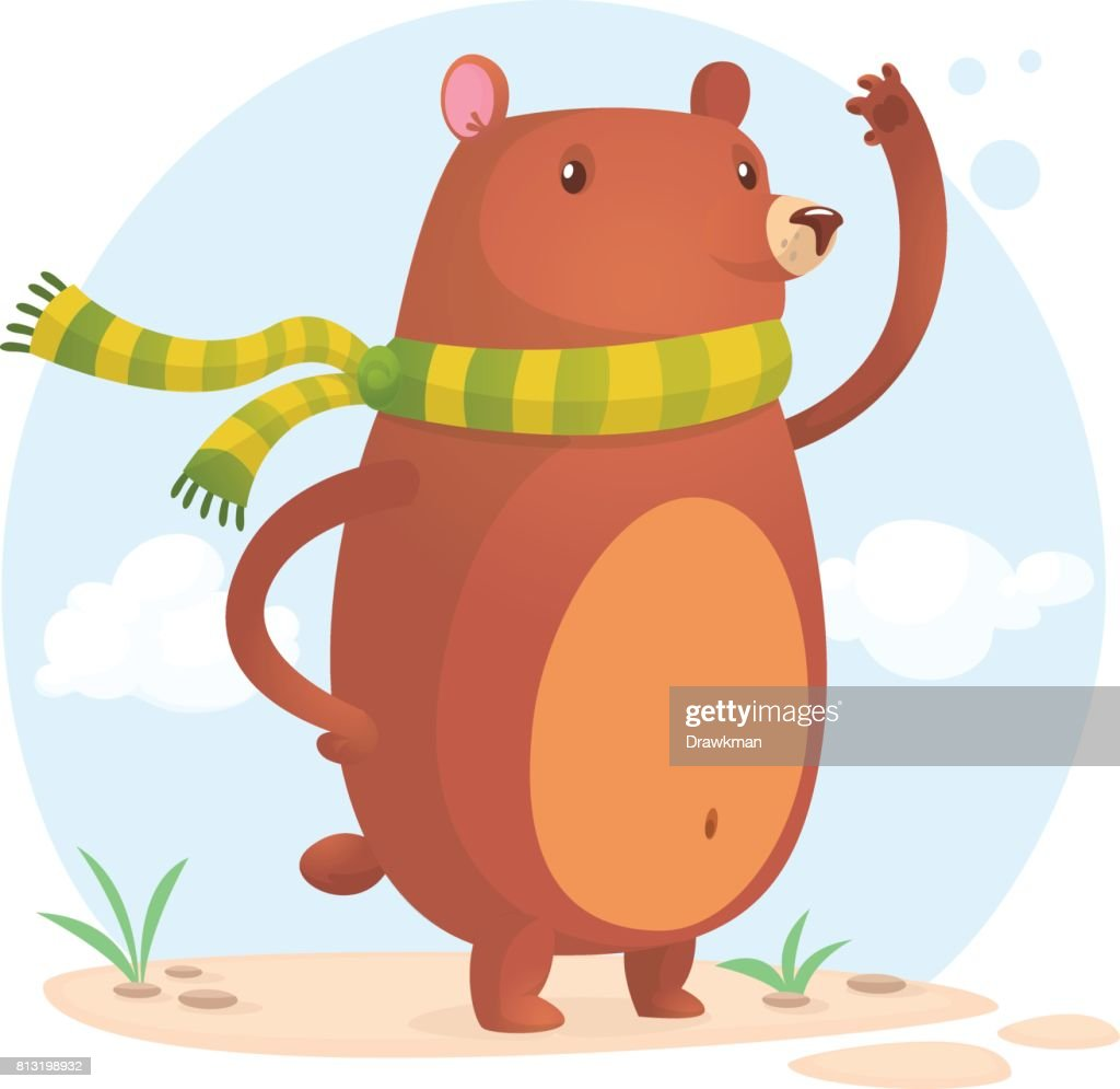 Happy bear in scarf. Vector cartoon isolated