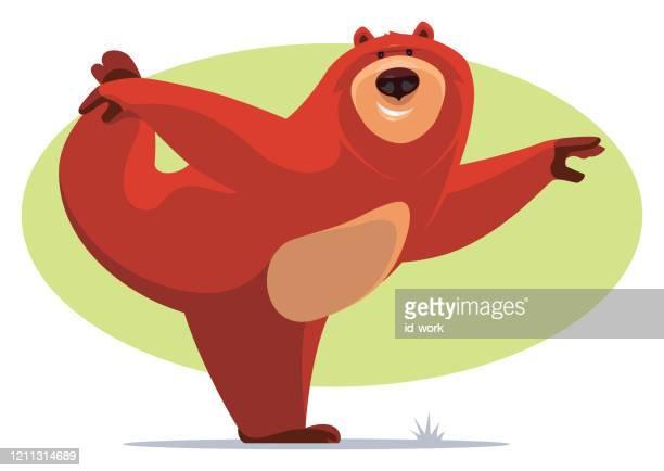 happy bear stretching - yogi stock illustrations