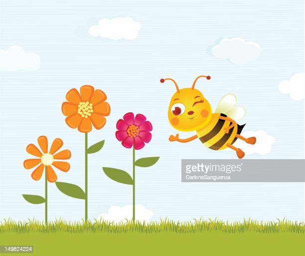 happy bee and flowers - gras stock illustrations