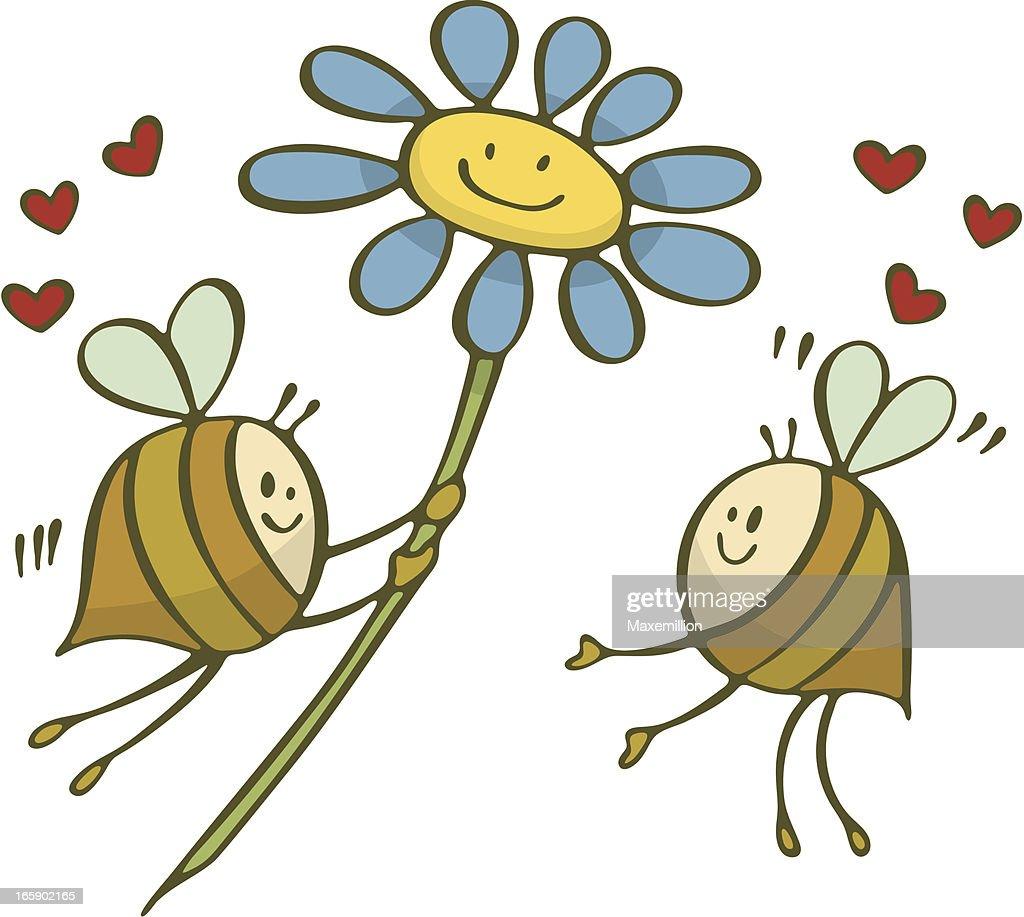 Happy Bee Love Holding Valentine Flower