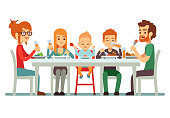 Happy big family eating dinner together vector illustration