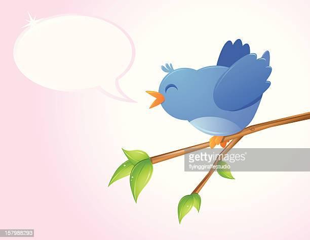ilustrações de stock, clip art, desenhos animados e ícones de pássaro feliz - canto de passarinho