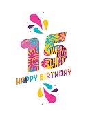 Happy birthday 15 year paper cut greeting card