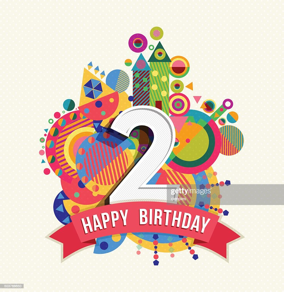 Happy birthday 2 year greeting card poster color