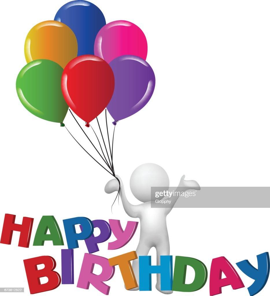 Happy Birthday 3d Man With Balloons Symbol Vector Image Vector Art