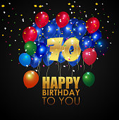 Happy Birthday 70th With Golden Number And Colorful Balloons